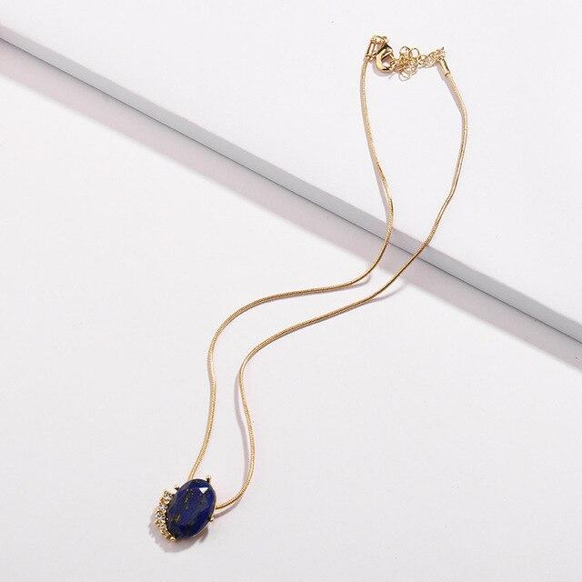 LUNA CHIAO 2018 Fashion 5 colors Oval Natural Opal Stone Gold Plating Short Chain Pendant Necklaces for Women