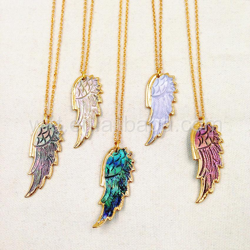 Natural Shell Feather Chain Necklace