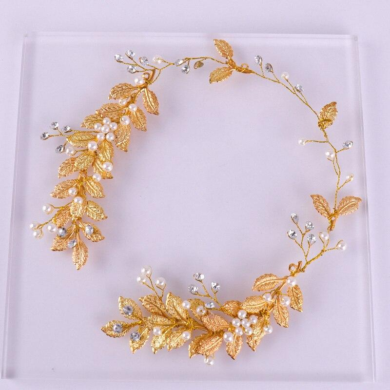 FORSEVEN Hoop Beads Rhinestone Simulated Pearl Golden Leaves Bridal Bride Wedding Jewelry Accessories Headwear Headband Hairband