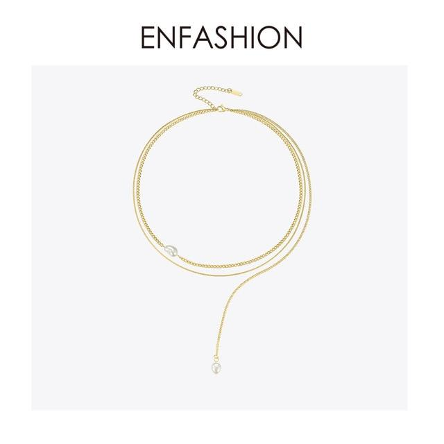 ENFASHION Boho Double Chain Choker Necklace Women Gold Color Stainless Steel Holiday Necklaces Femme Fashion Jewelry P193030