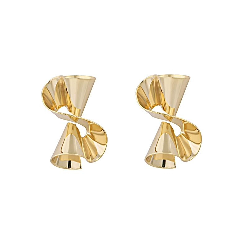 LWONG Gold Silver Color Wave Stud Earrings for Women Brass Jewelry Geometrical Earrings Gold Chic Large Big Studs Earrings New