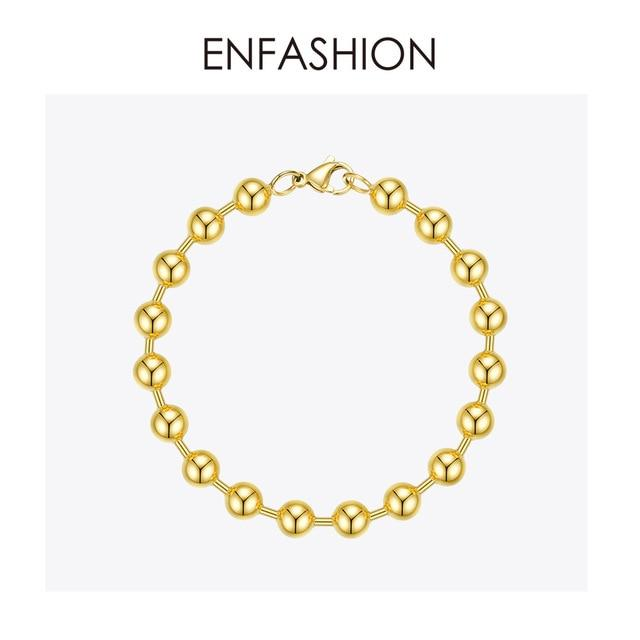 ENFASHION Bead Chain Bracelets For Women Stainless Steel Gold Color Hip Hop Ball Bracelet Rock Men Jewelry Dropshipping B192072