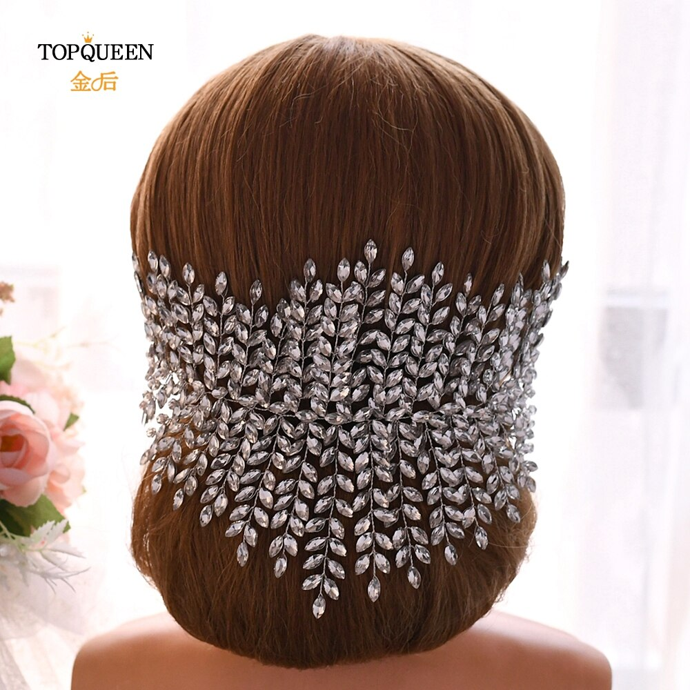 TOPQUEEN HP238 womens rhinestone headband womens hair pieces wedding headband silver wedding headpieces for women tiara crown