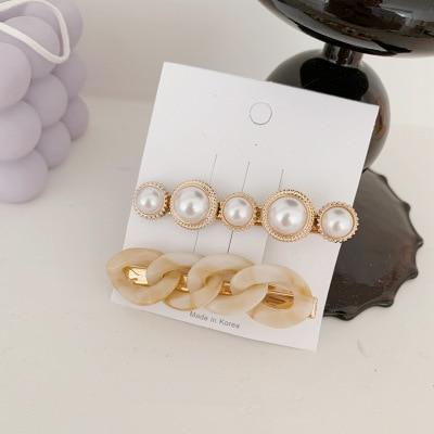 AOMU 1SET Korea Fashion Imitation Pearl Hairpins Women Vintage Acrylic Chain Hair Clips for Girls Hair Accessories Gifts - Flairsuite Jewels