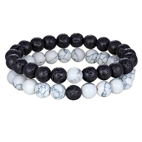 Hot 2pcs/set 7 Style Couples Distance Bracelet Natural Stone Yoga Beaded Bracelet for Men Women Friend Gift Charm Strand Jewelry - Flairsuite Jewels