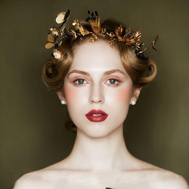 Vintage Bridal Hairband Wedding Crown Tiara  Butterfly Leaf Headband Baroque Crown Handmade Wedding Dress Accessories