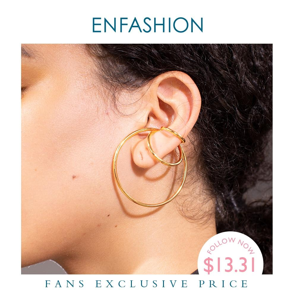 ENFASHION Geometric Ear Cuff Clip On Earrings For Women Gold Color Multi-layer Circle Earings Fashion Jewelry Pendientes E201153 - Flairsuite Jewels