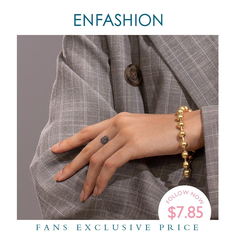 ENFASHION Bead Chain Bracelets For Women Stainless Steel Gold Color Hip Hop Ball Bracelet Rock Men Jewelry Dropshipping B192072 - Flairsuite Jewels