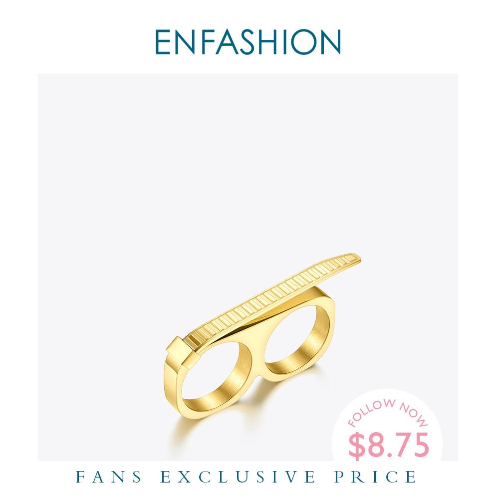 ENFASHION Cable Tie Knot Rings For Women Stainless Steel Gold Color Two Finger Ring Fashion Jewelry 2020 Party Wholesale R204049 - Flairsuite Jewels