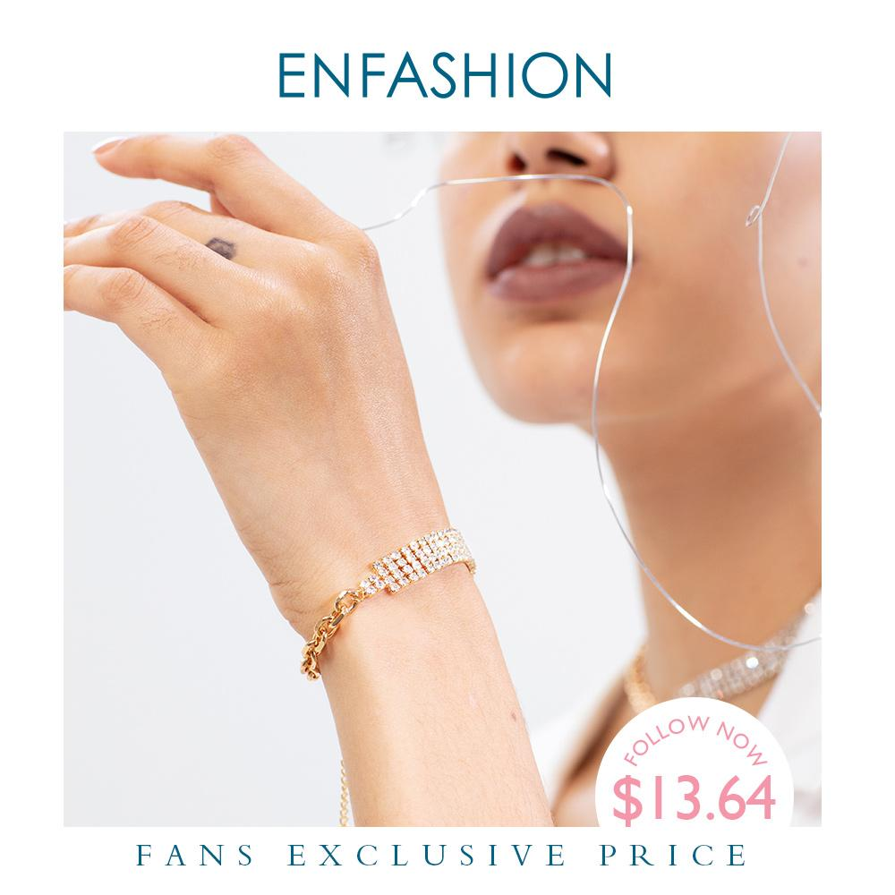 ENFASHION Shiny Crystal Bracelet Gold Color Statement Bracelets For Women Fashion Jewelry Gifts Dropshipping Bransoletka B202075 - Flairsuite Jewels