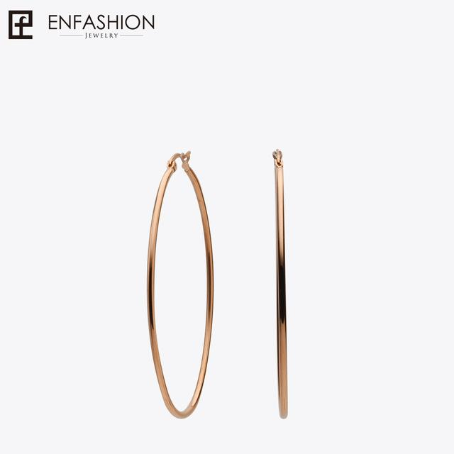 Enfashion Large Hoop Earrings Gold color Thin Line Earings Stainless Steel Circle Earrings For Women Jewelry Wholesale - Flairsuite Jewels
