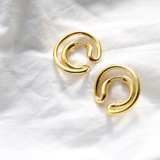 Peri'sBox Gold Silver Color Double Circle Hoop Earrings C Shape Irregular Geometric Earrings for Women Minimalist Earrings Hoops