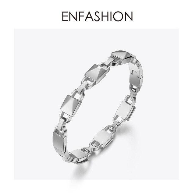 ENFASHION Lock Geometric Cuff Bracelets Bangles For Women Accessories Stainless Steel Fashion Jewelry Gifts Wholesale B192047