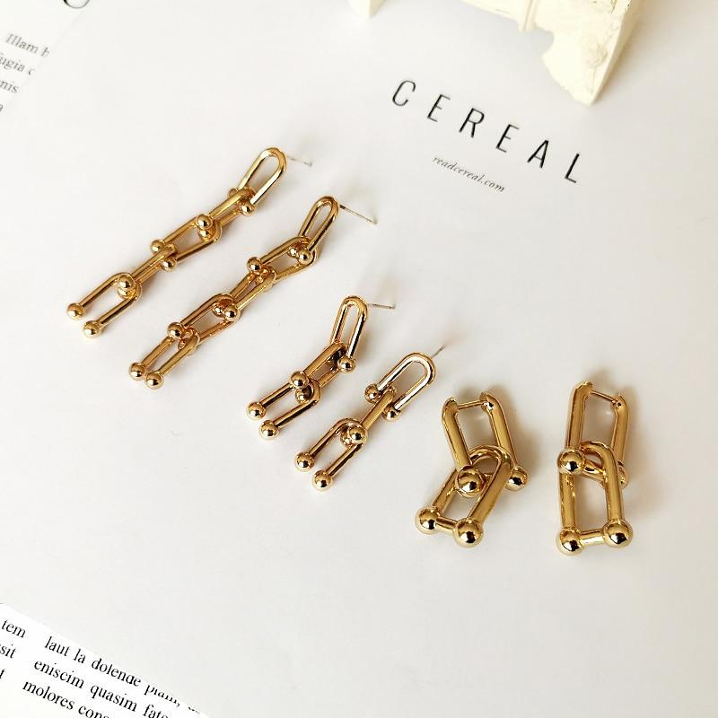 GHIDBK Handmade Statement Chain Pendant Stud Earrings Minimalist Shaped O Street Style Earring Long Design Earring Women Jewelry - Flairsuite Jewels
