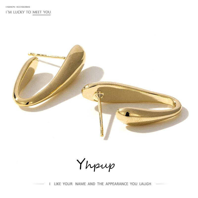 Yhpup Trendy Korean Minimalist Geometric Bend Stud Earrings Personality Copper Brincos S925 for Female Office Jewelry Gift 2019 - Flairsuite Jewels