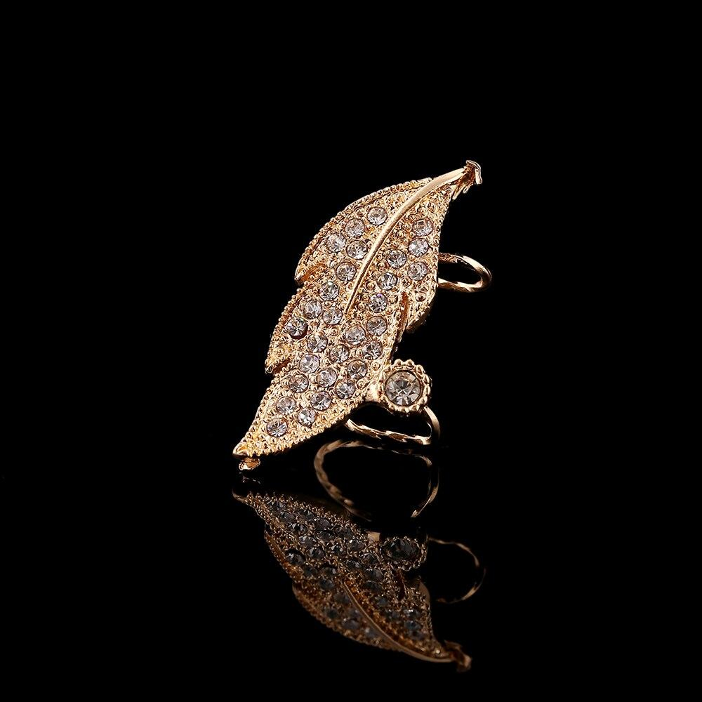ZLDYOU Fashion Girl Jewelry Left Ear Cuff Earring Jewelry Leaf Modeling Zircon Ear Cuff Full Crystal Women Gift  Clip Earrings - Flairsuite Jewels