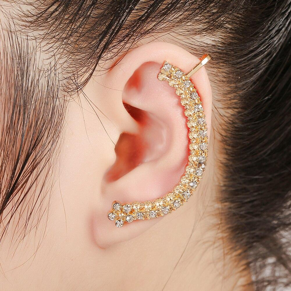 ZLDYOU Punk Jewelry Zinc Alloy Left Ear Cuff Double Row Clear Crystal Flower Earcuff Fashion Gold Silver Plated Clip Earring