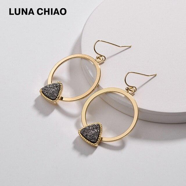 LUNA CHIAO Fall Winter New Design Triangle Resin Druzy Stone Drop Earrings for Women