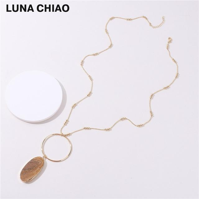 Gold Plating White Marble Picture Stone 80cm Chain Big Circle Oval Natural Stone Pendant Necklaces for Women - Flairsuite Jewels