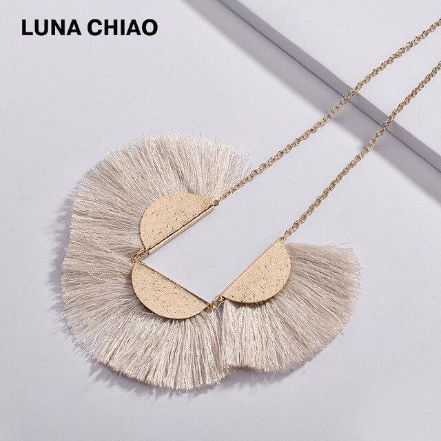 LUNA CHIAO 2018 Fall Winter 4 colors Fashion Silk Fringe Tassels Bib Statement Chunky Necklaces for Women - Flairsuite Jewels
