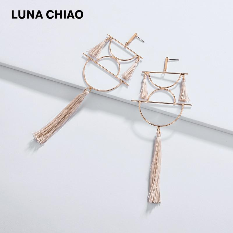 LUNA CHIAO Fashion Jewelry Chinese Elements Lanterns Geometric Cooper Thread Statement Tassel Drop Earrings for Women - Flairsuite Jewels
