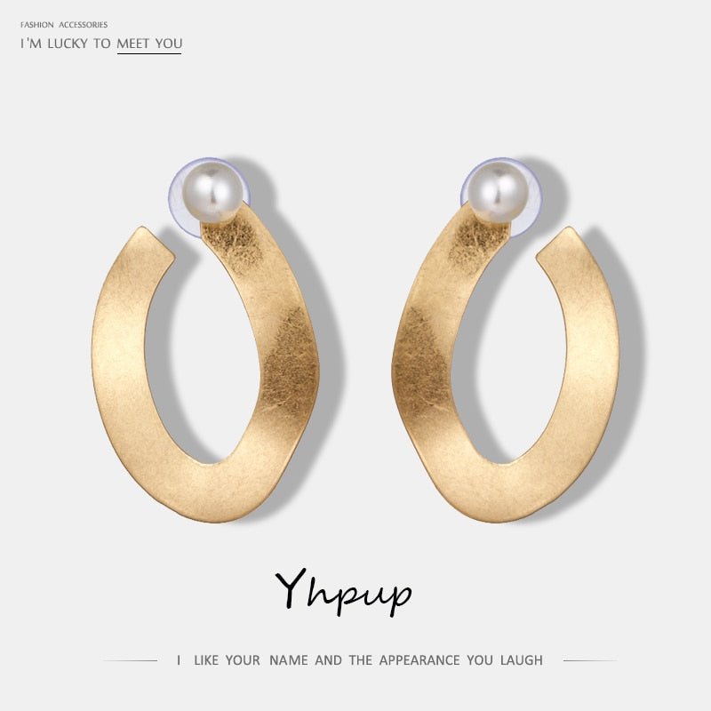 Yhpup New Arrival Fashion Vintage Geometric Brand Charm Stud Earrings Detachable Imitation Pearl Simple Earrings For Women Party