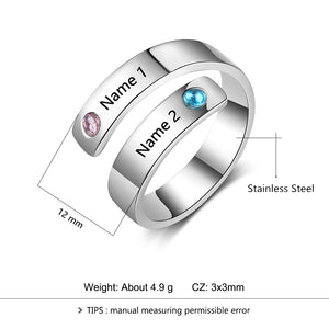 Personalized Mothers Rings Custom Name Birthstone Rings For Women