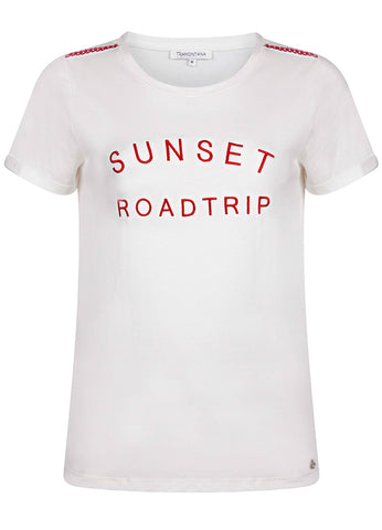 T-Shirt Sunset Roadtrip blanc