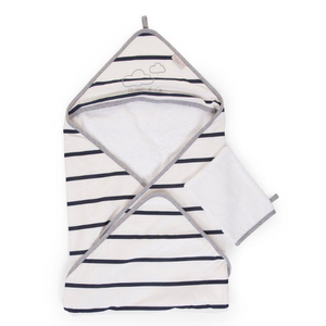Childhome hooded towel + washcloth - Jersey marin with cloud