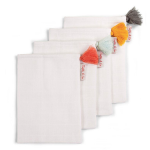 Childhome tetra washandjes wit + pompons - Set van 4