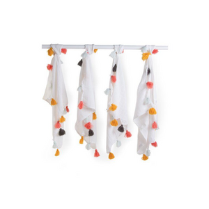 Childhome hydrophilic cloths white + pompons - Set of 4
