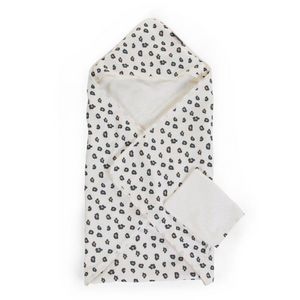 Childhome hooded towel + washcloth - Jersey leopard