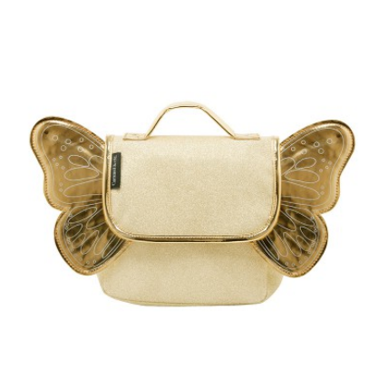 Caramel & Cie backpack with wings - Gold with glitter