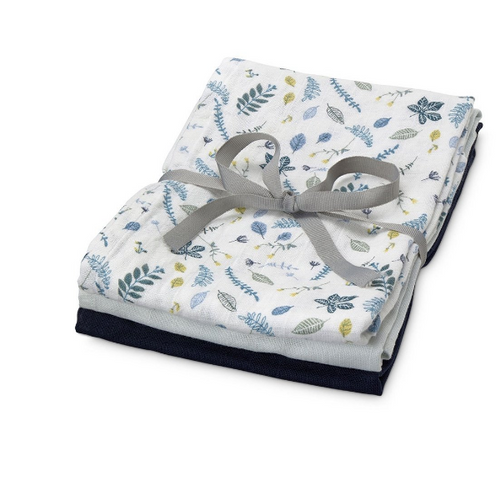 Cam Cam 3 hydrofiele doeken - Pressed leaves blue, baby blue & navy