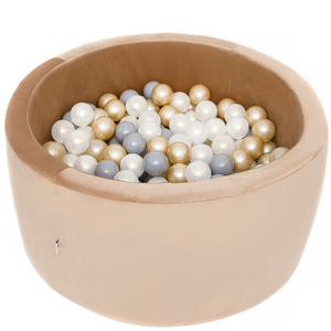 MISIOO Ball Pool Velours gold - rund 90x40cm