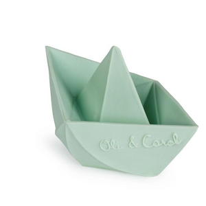 Oli & Carol bite and bath toy - Origami boat mint