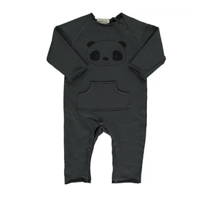 Bean's panda organic playsuit - Anthracite