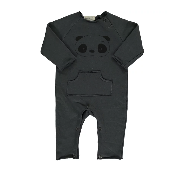 Bean's panda organic playsuit - Antraciet