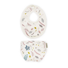 Image in Gallery view drawers, CamCam dolls clothing set diaper and bib - Pressed leaves rose