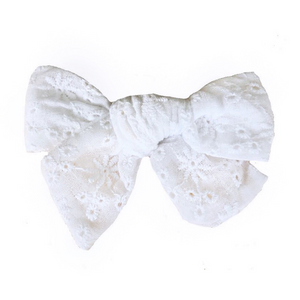Baby hair bow with fine embroidery - White