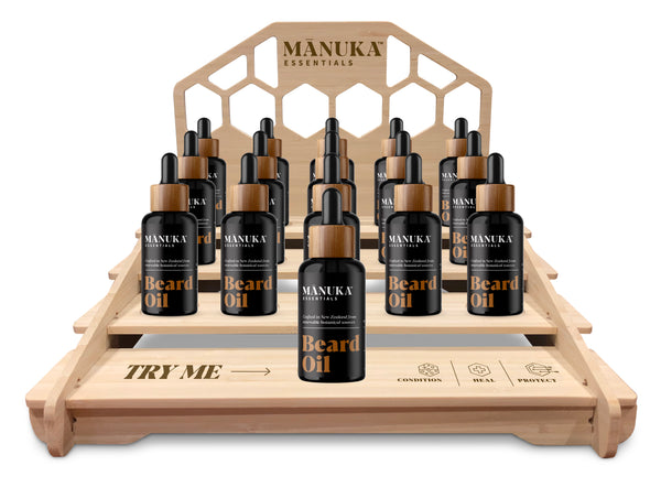 Manuka Essentials Beard Oil 15 bottle stand