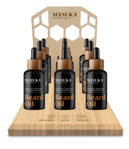 Manuka Essentials Beard Oil 9 bottle display