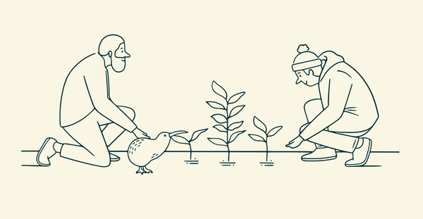 A drawing of 2 people planting trees | Reforestation