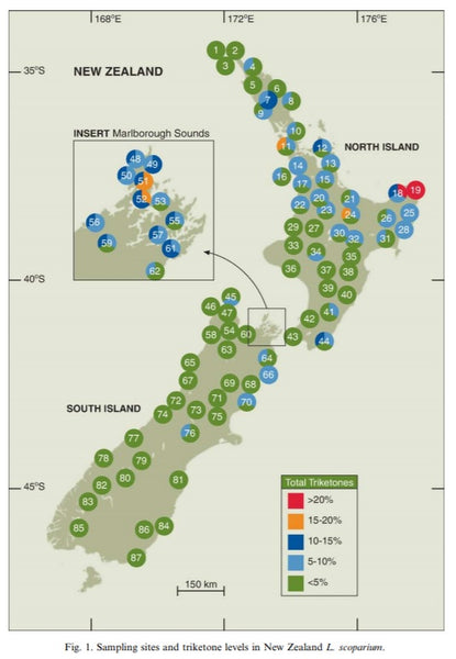 "Map from ""Essential oils from New Zealand manuka: Triketone and other chemotypes of Leptospermum scoparium"" research study"