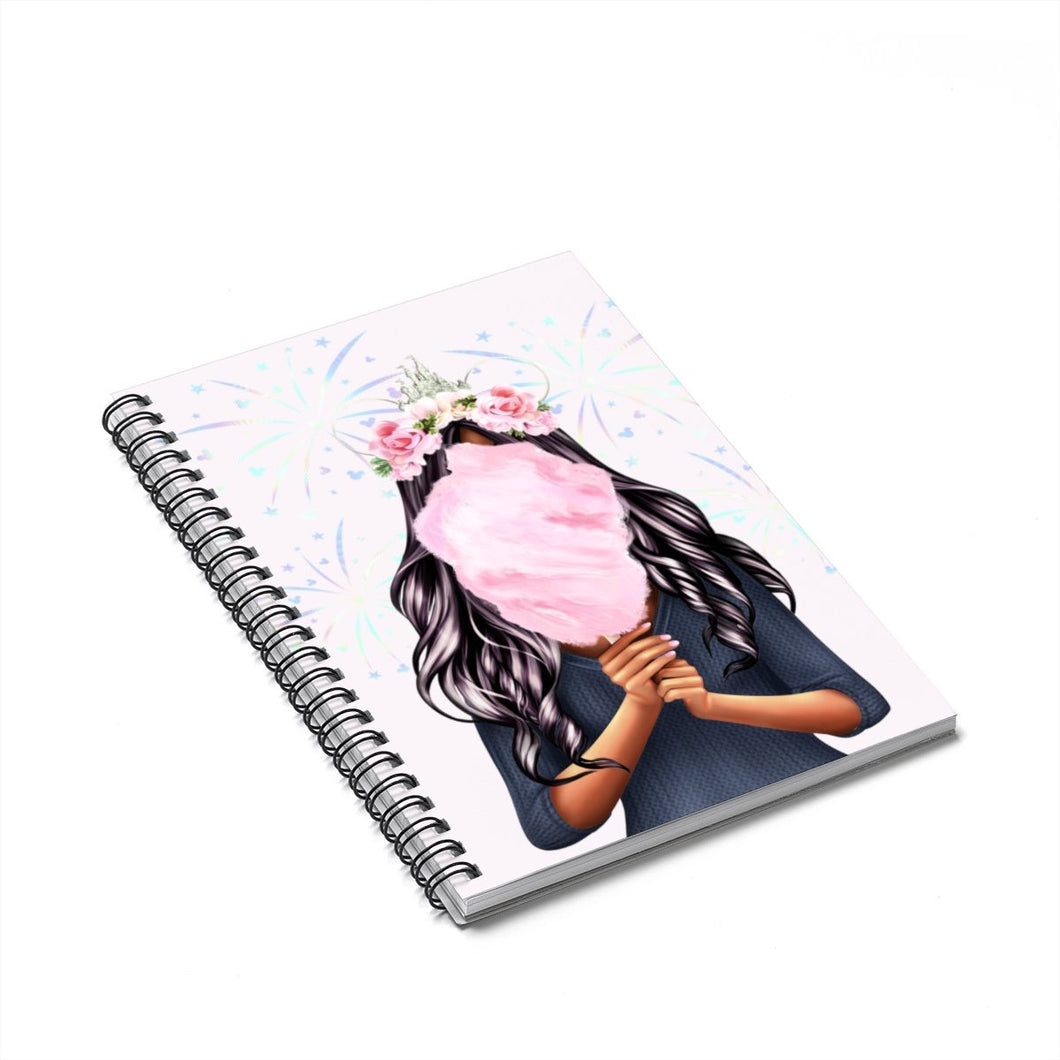 Cotton Candy Dreams Dark Skin Black Hair Spiral Notebook - Ruled Line