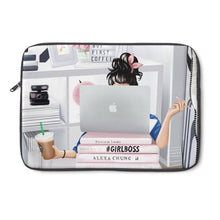 Load image into Gallery viewer, Girl Boss Laptop Sleeve - Fair Skin - Black Hair - Planner Press Designs