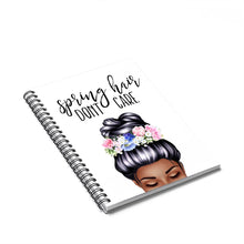 Load image into Gallery viewer, Spring Hair Dark Skin Black Hair Spiral Notebook - Ruled Line