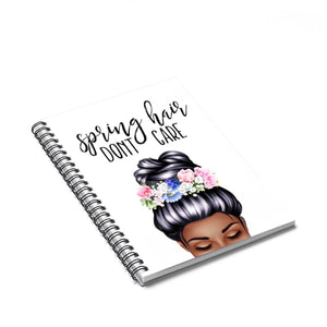 Spring Hair Dark Skin Black Hair Spiral Notebook - Ruled Line