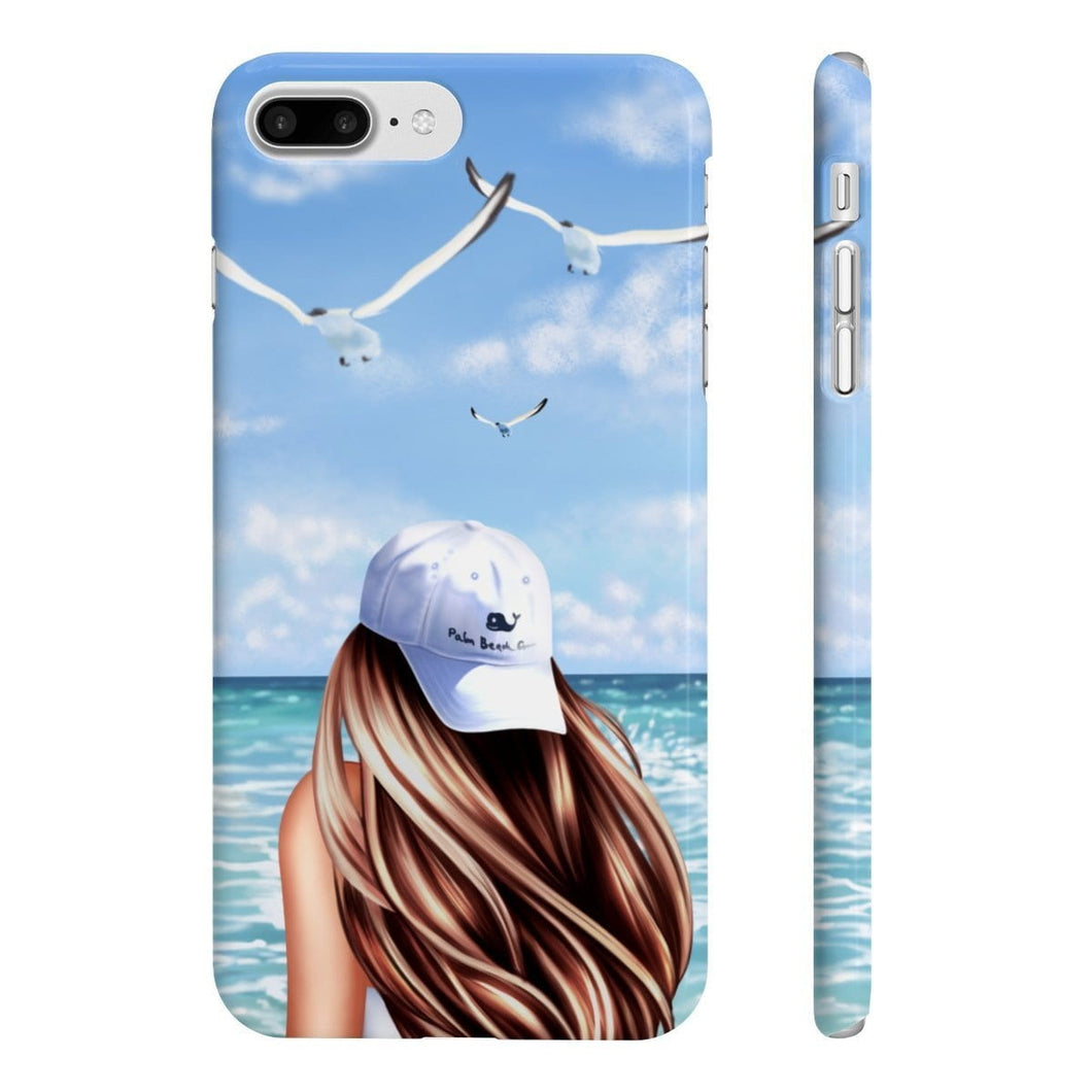 Beach Days Fair-Skin Brown Hair iPhone Case - Protective Phone Cover - Planner Press Designs