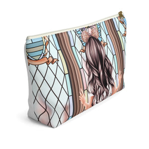 Take Me To The Castle Light Skin Black Hair Accessory Pouch with T-bottom - Pencil Case